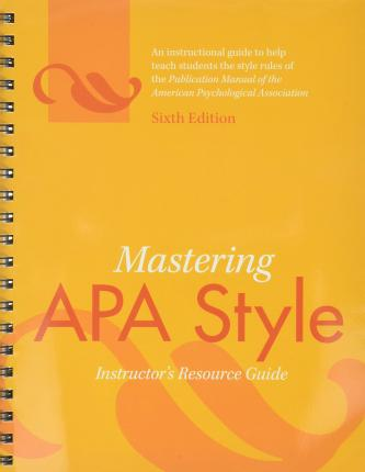 publication manual of the american psychological association sixth edition